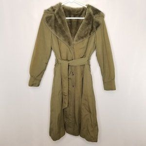 {Vintage} Green 70s Faux Fur Hooded Trench Coat